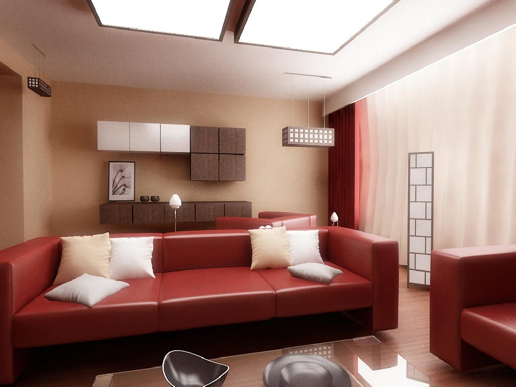 Image of: Red Living Room Set Brown