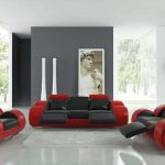 Red Living Room Set Interior