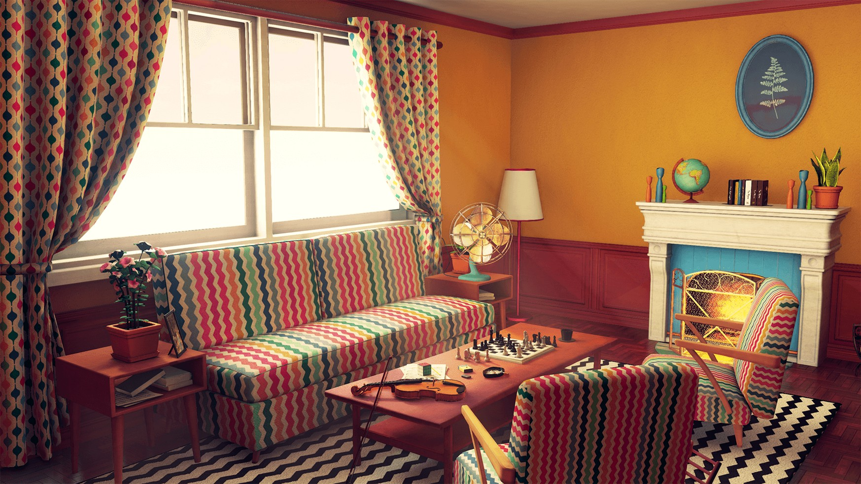 Image of: Retro Living Room Vintage