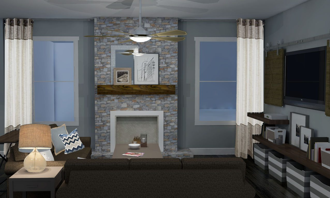 Image of: Rustic Modern Living Room Fireplace