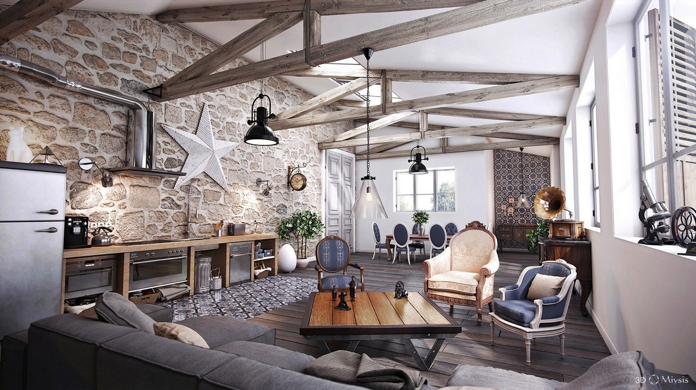 Image of: Rustic Modern Living Room Style