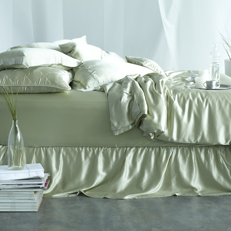 Image of: Silk Green Bed Skirt