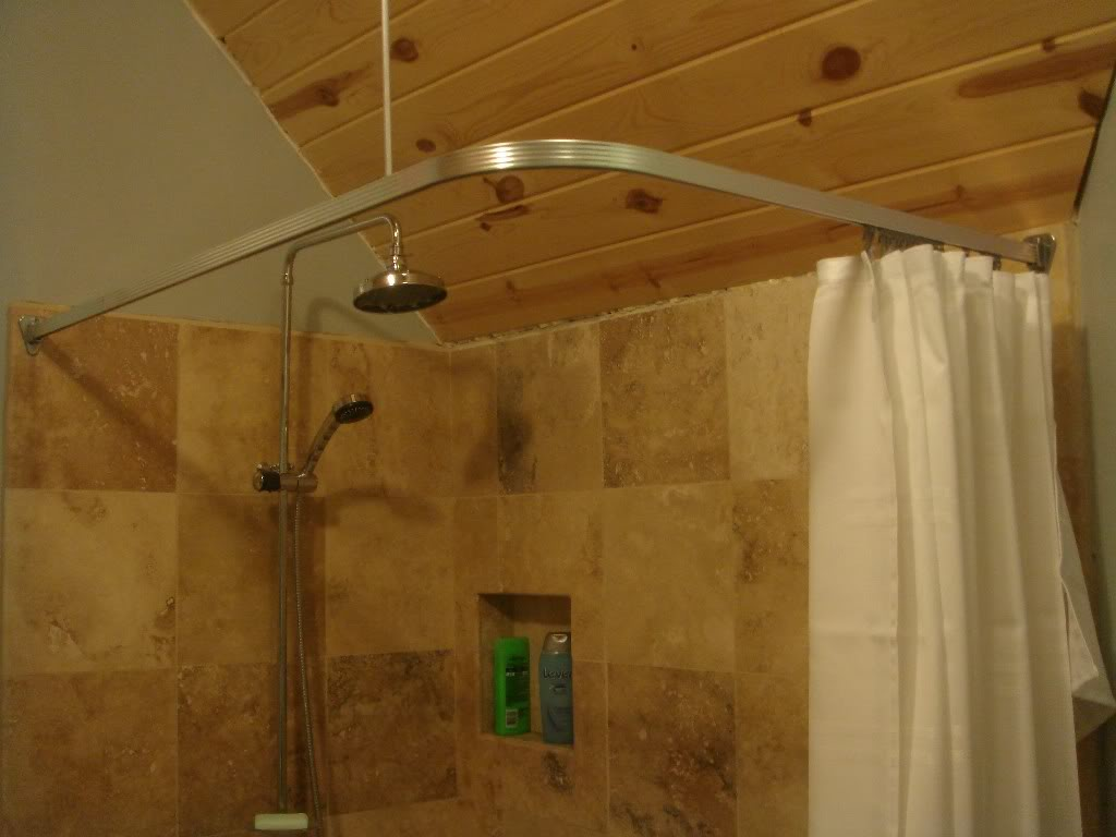 Image of: Silver Curtain Rods Shower