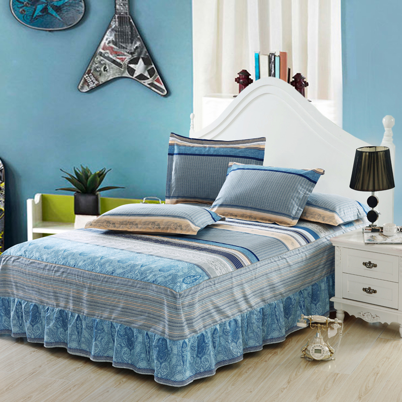 Image of: Striped Bed Skirt Blue