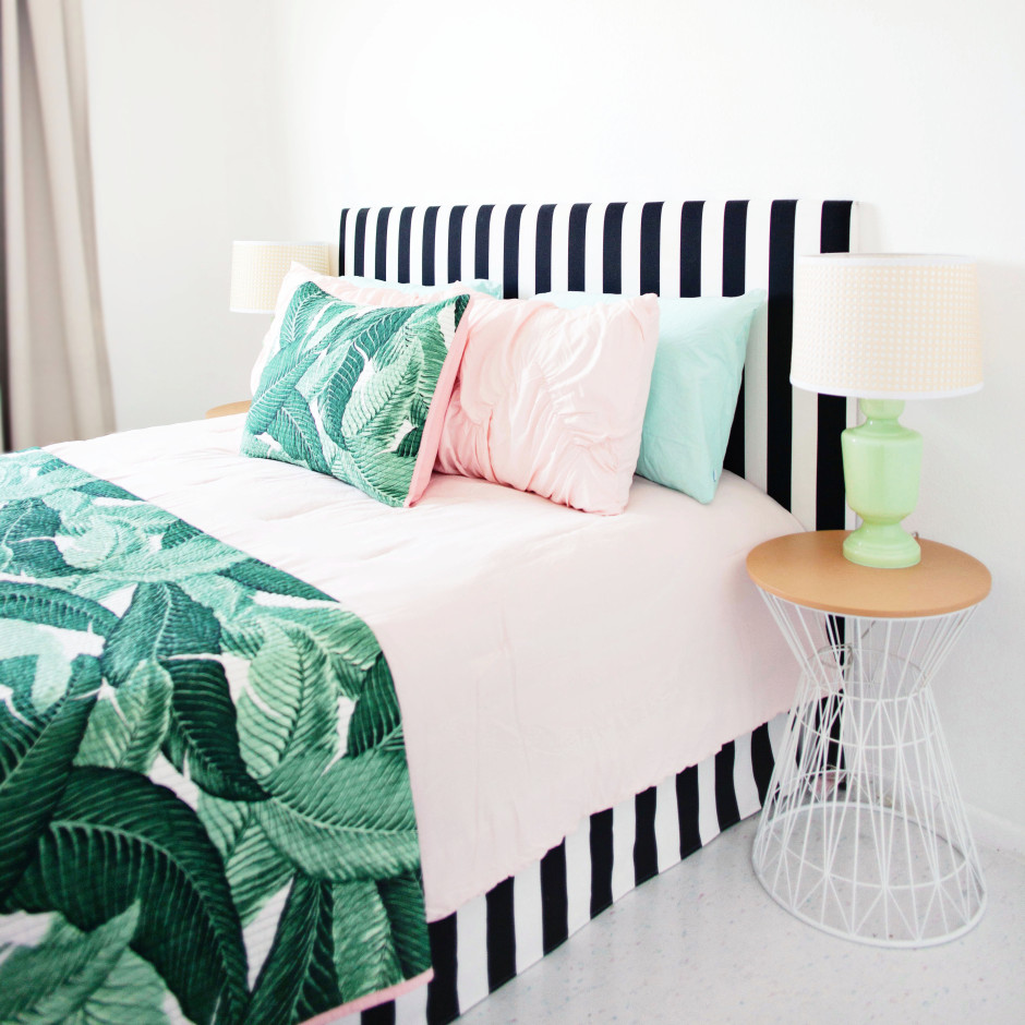 Image of: Striped Bed Skirt DIY