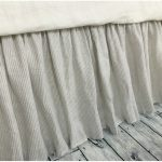 Striped Bed Skirt Gray
