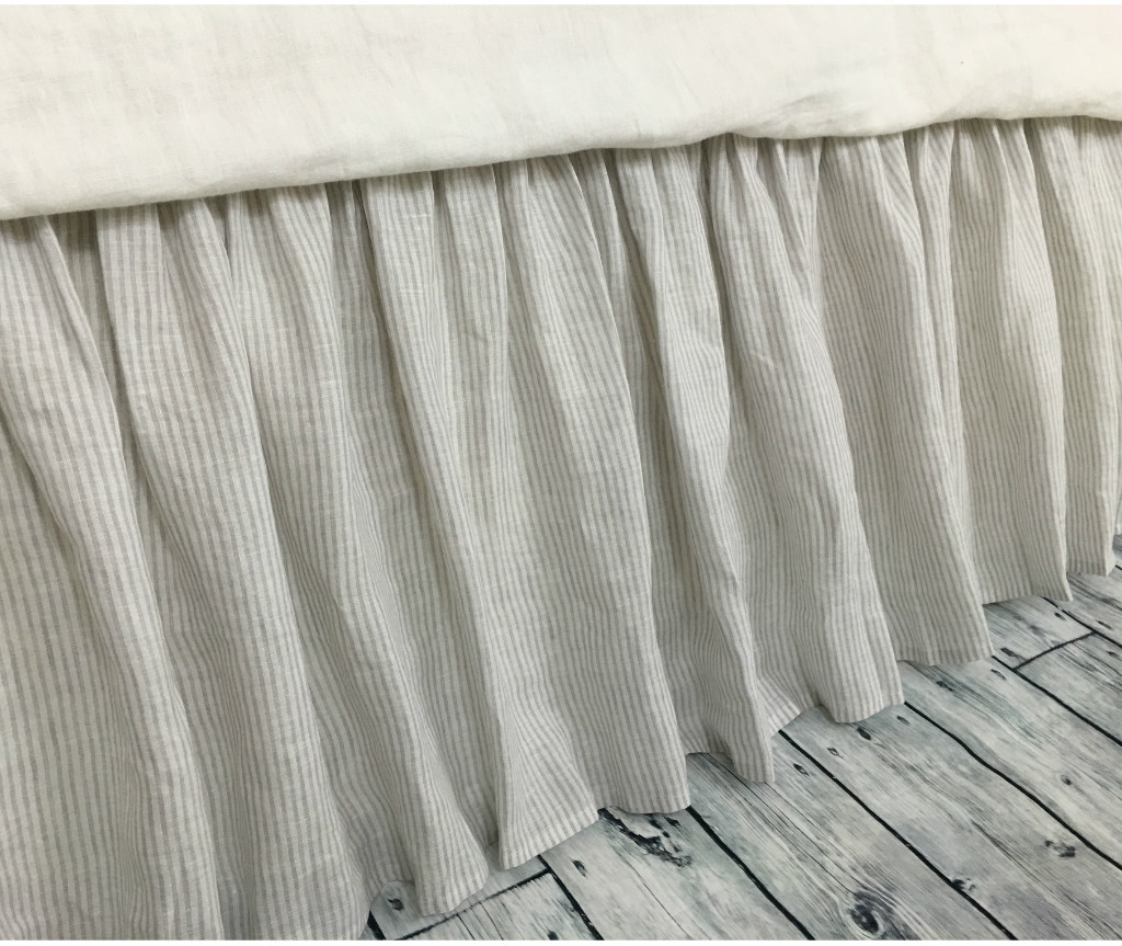 Image of: Striped Bed Skirt Gray