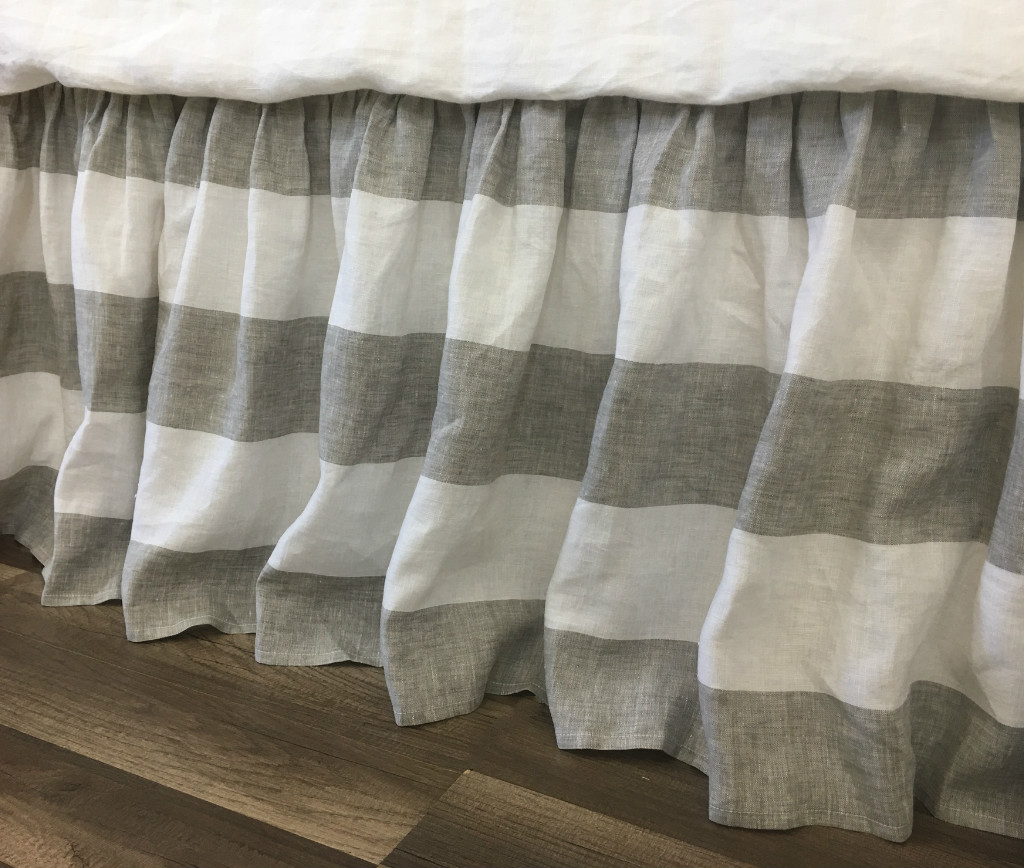 Image of: Striped Bed Skirt Linen