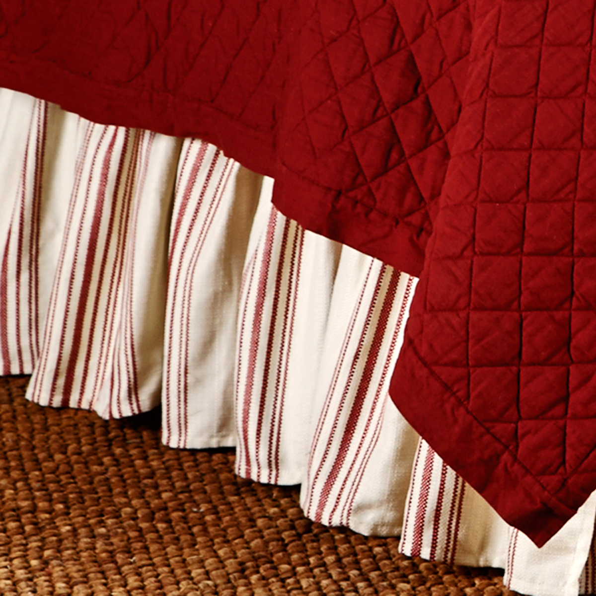 Image of: Striped Bed Skirt Red