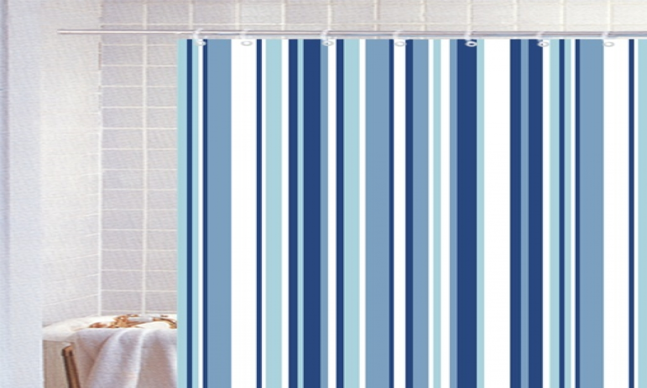 Image of: Striped Shower Curtain Blue