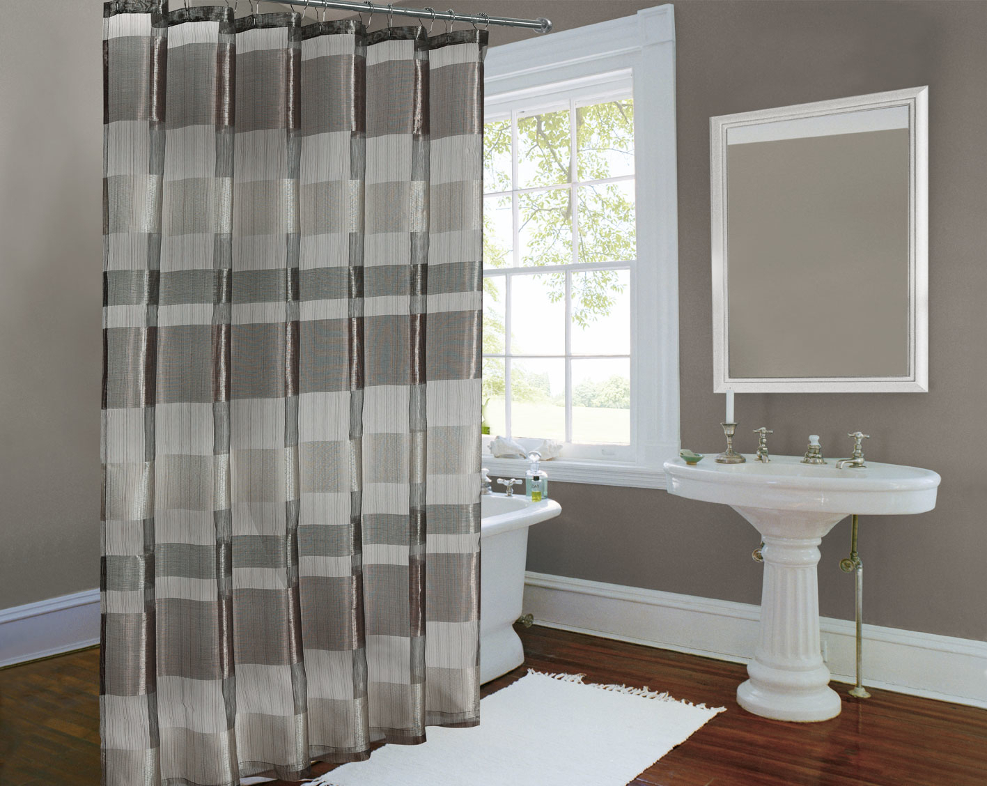 Image of: Striped Shower Curtain Elegant