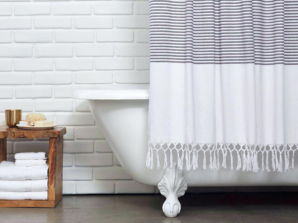 Image of: Striped Shower Curtain White