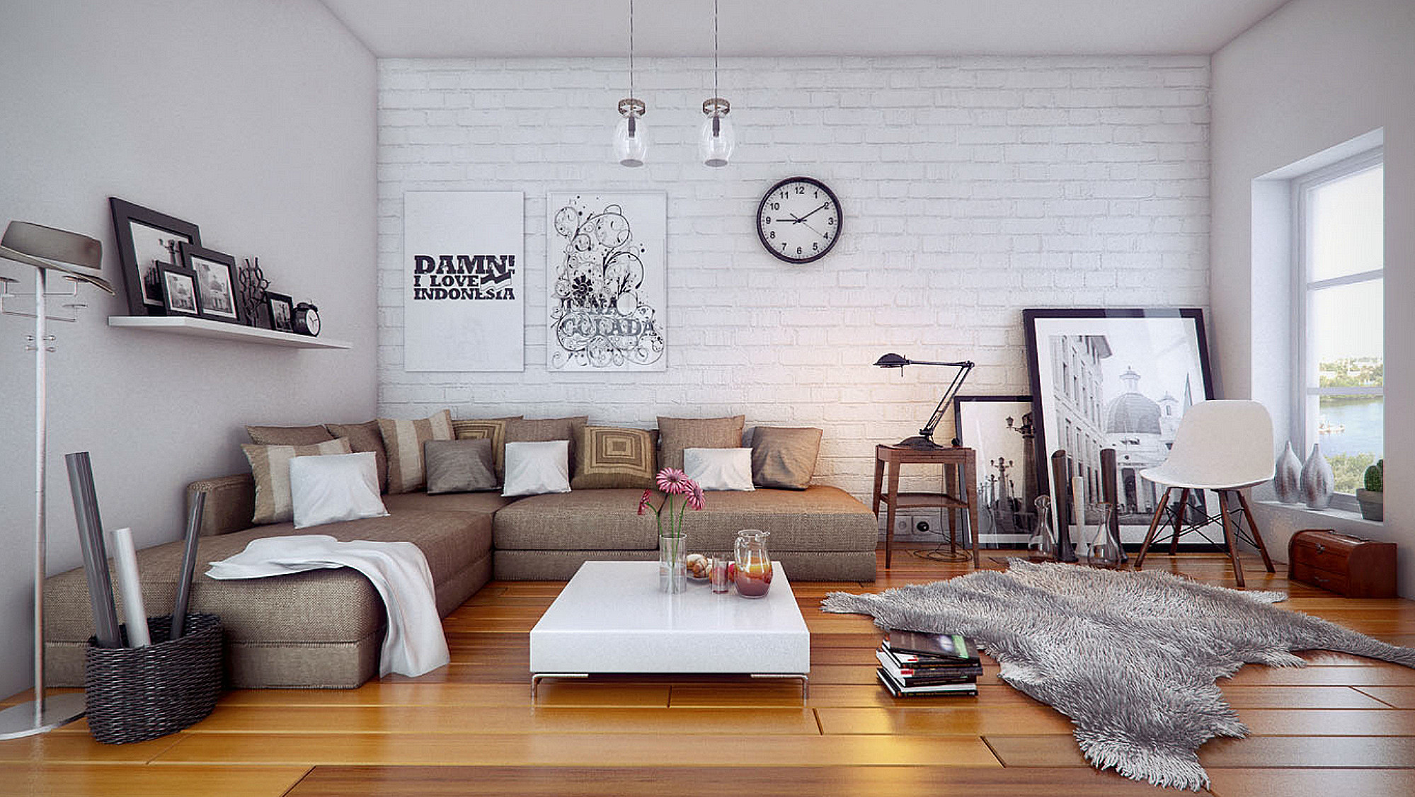 Image of: Wall Art Ideas For Living Room White