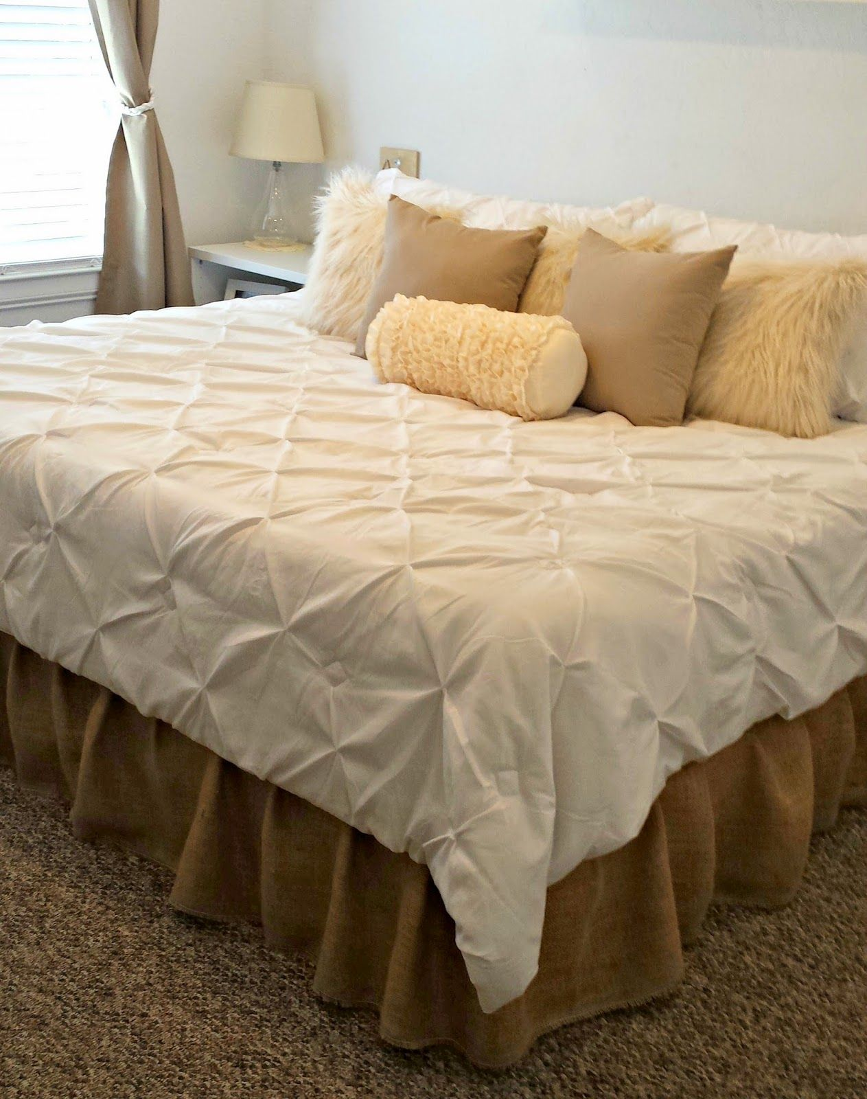 White Burlap Bed Skirt