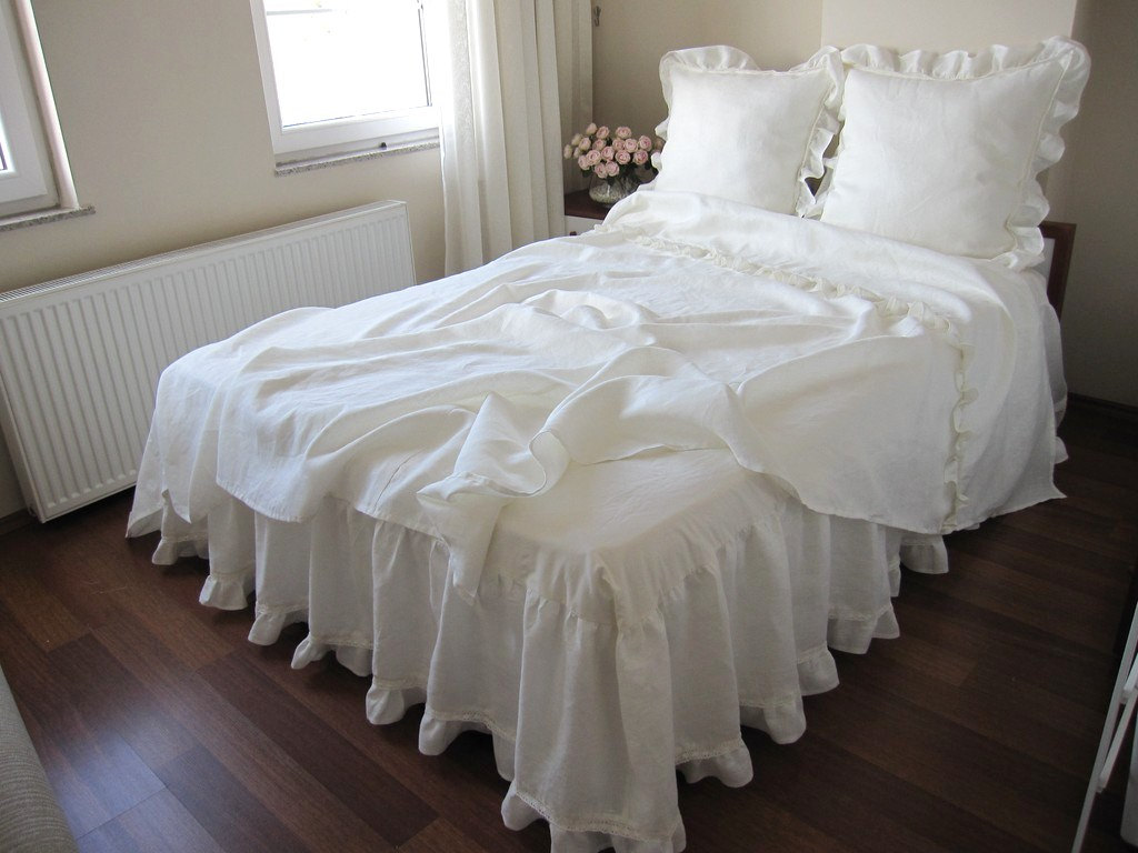 White Gingham Bed Skirt