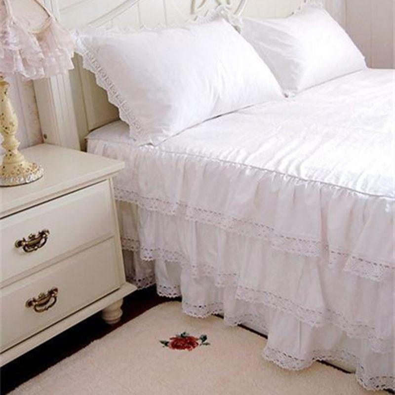 Image of: White Lace Bed Skirt