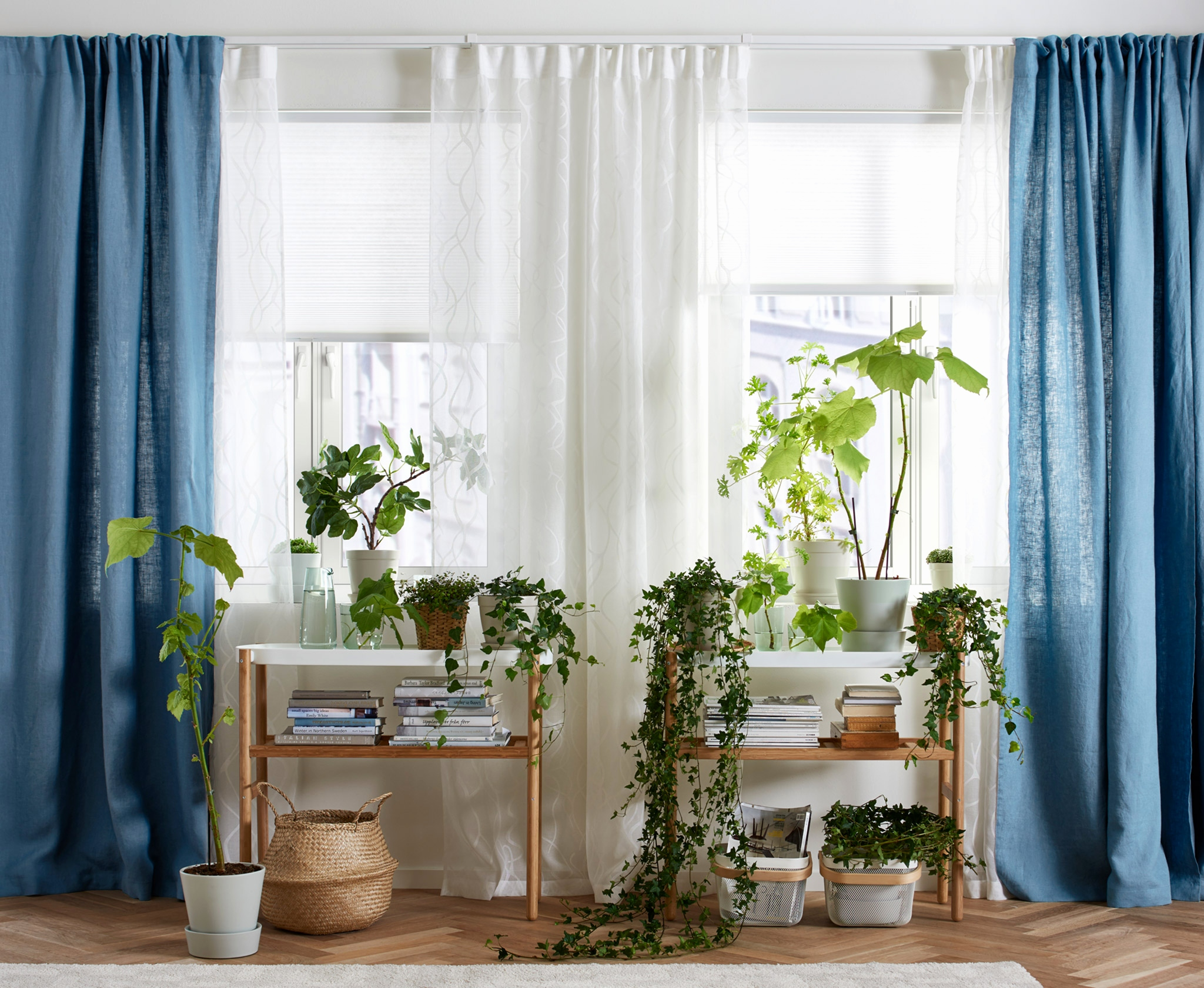 Image of: White Living Room Curtains Blue