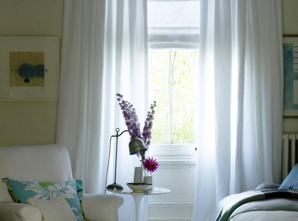 White Living Room Curtains Elegant