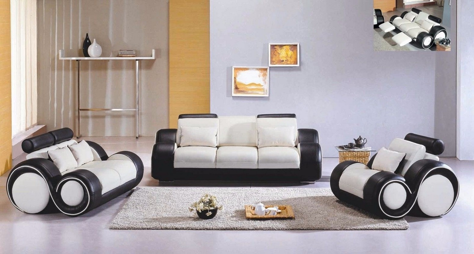 Image of: White Living Room Furniture Sets Chairs