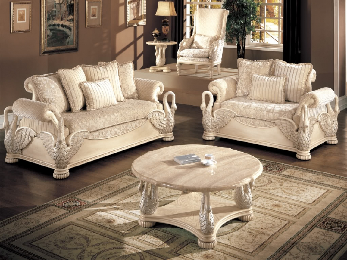 Image of: White Living Room Furniture Sets Luxury