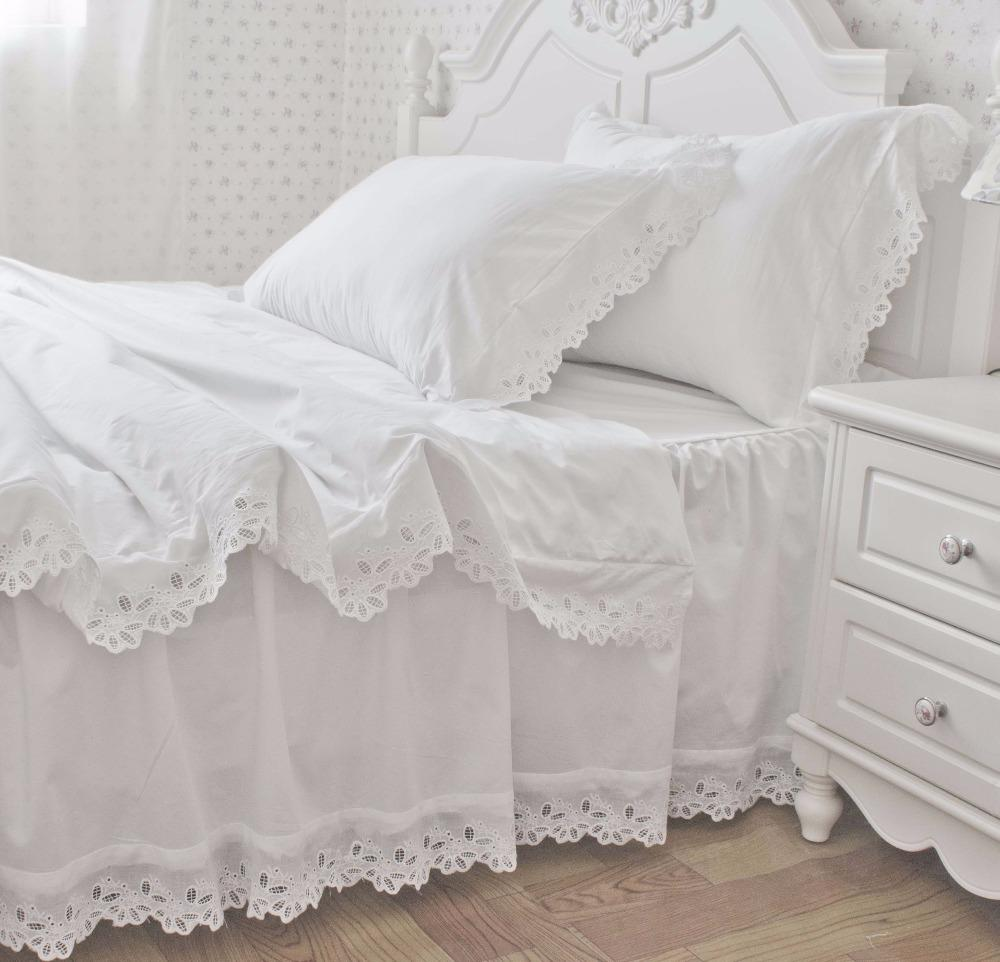 Image of: White Ruffle Bed Skirt Cotton