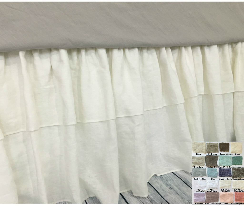 Image of: White Ruffle Bed Skirt Fabric