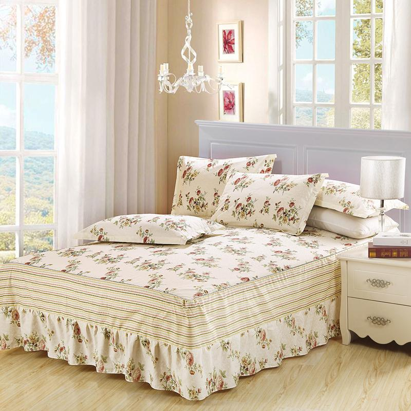 Image of: White Ruffle Bed Skirt Floral