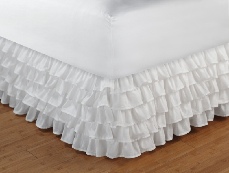 White Ruffled Bed Skirt Twin
