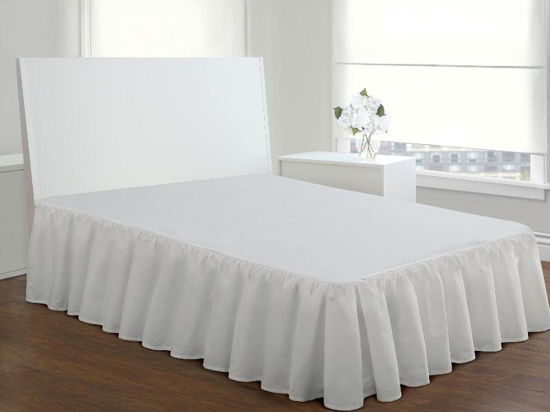 Image of: White Ruffled Bed Skirt With A 17 Inch Drop
