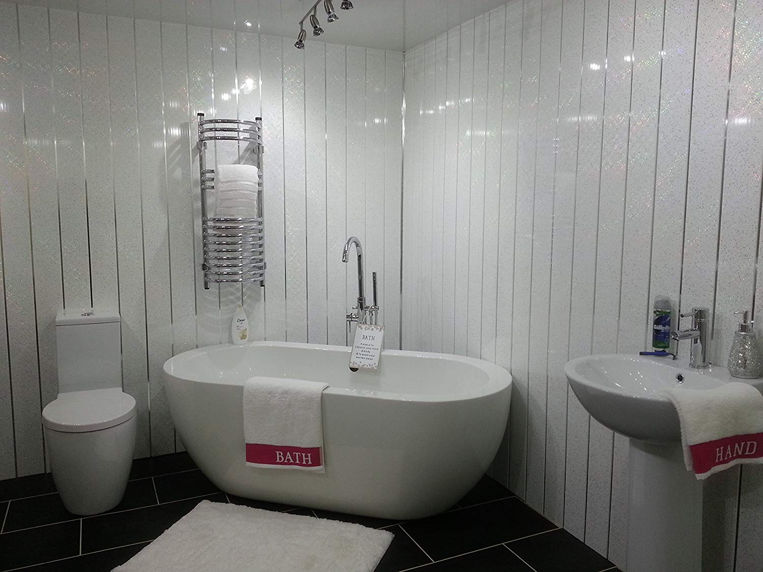 Image of: White Shower Wall Panels