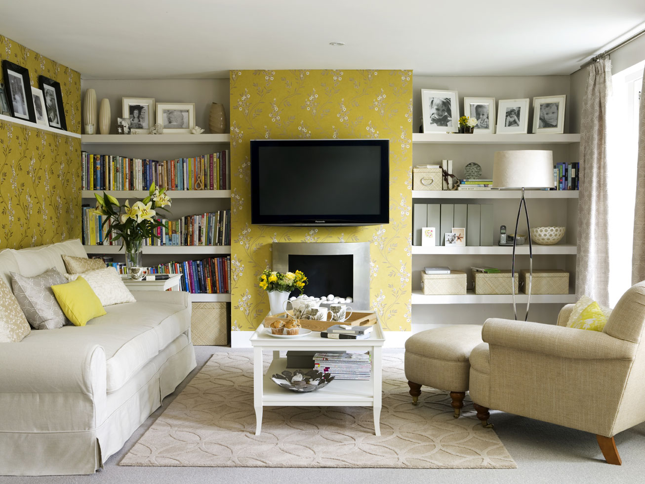 Image of: Yellow Living Room Awesome