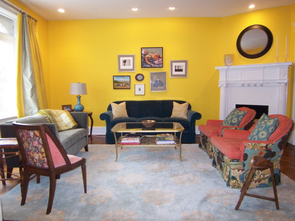 Image of: Yellow Living Room Vintage