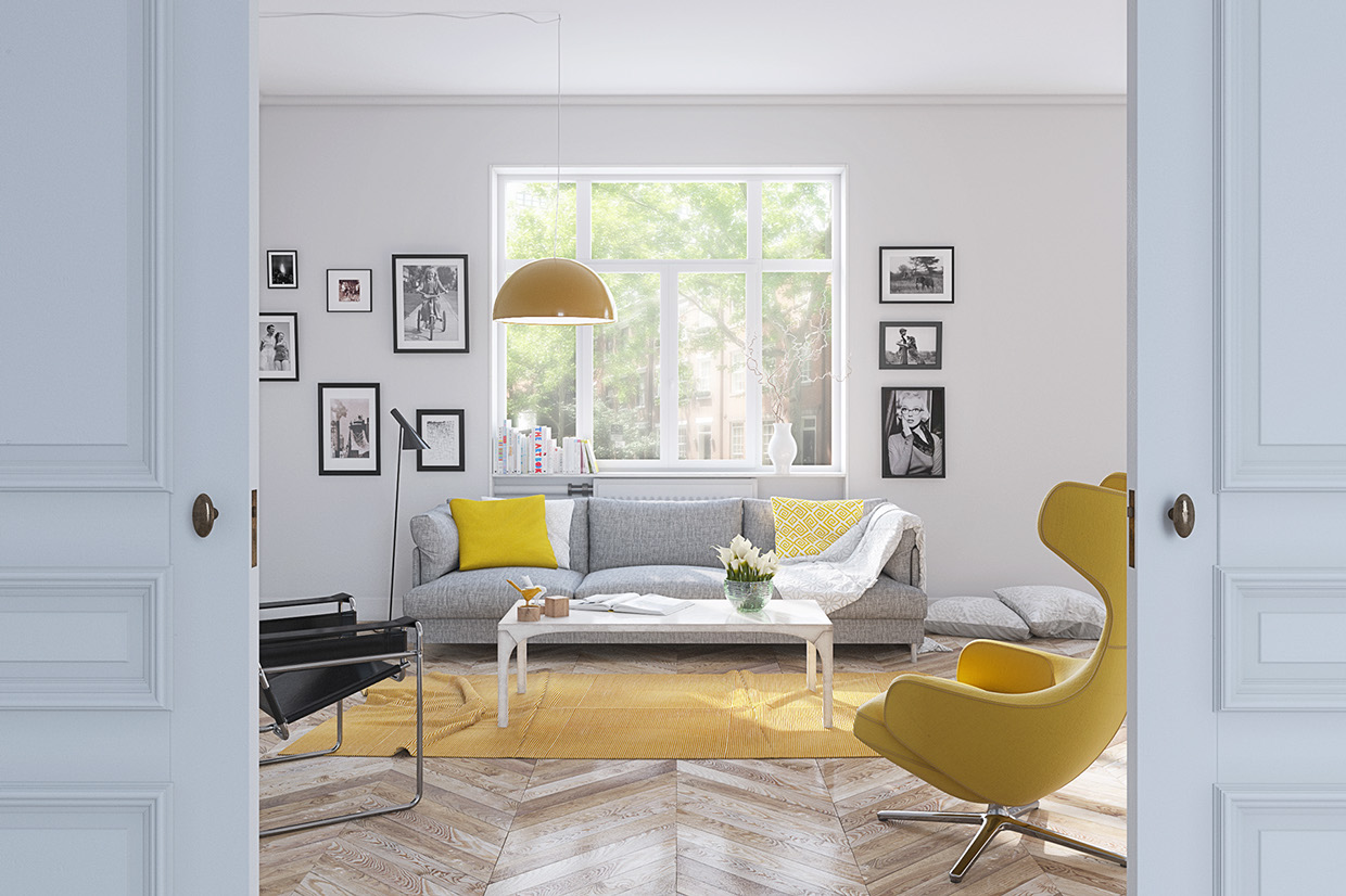 Image of: Yellow Living Room White