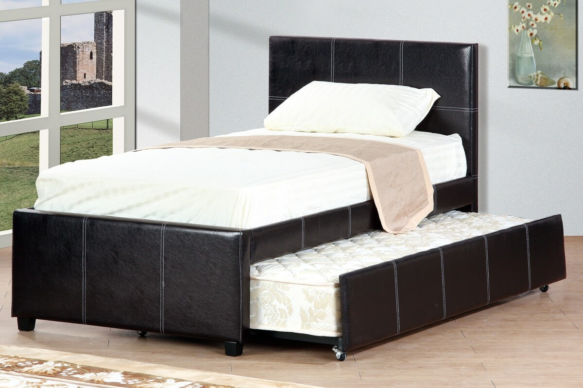 Image of: Bed Frame With Trundle Leather