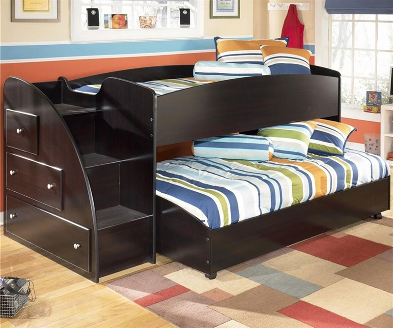 Image of: Black Loft Bed with Trundle