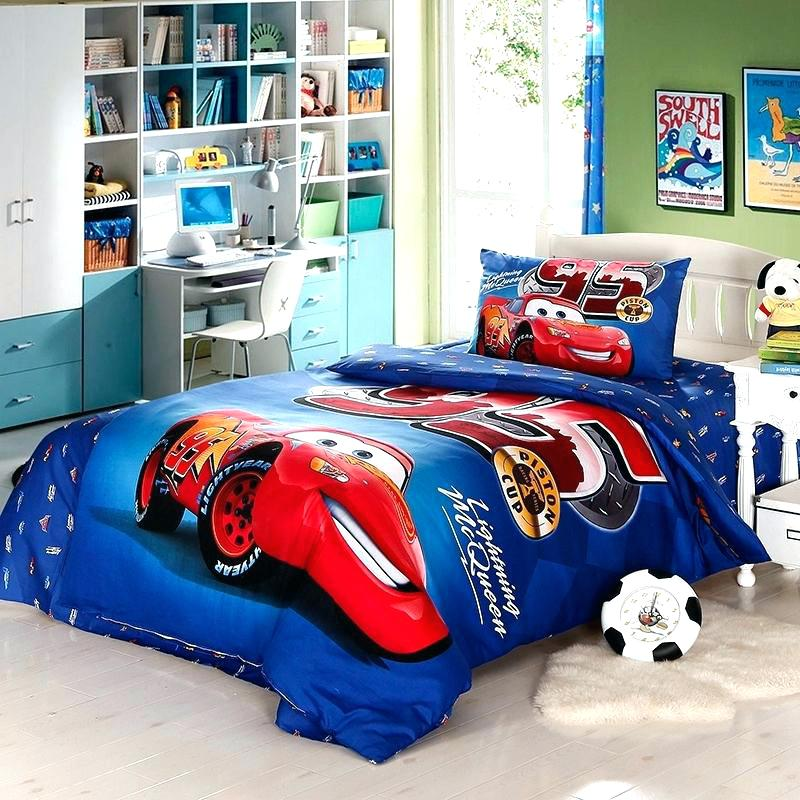Image of: Blue Cars Toddler Bed Set