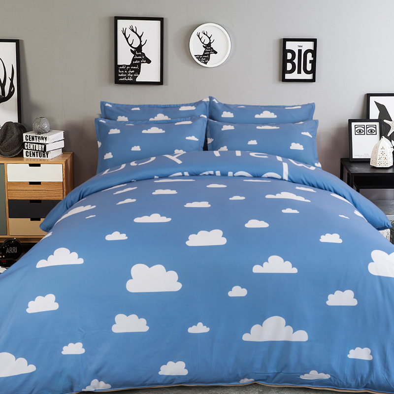 Image of: Blue Cloud Bedding Set