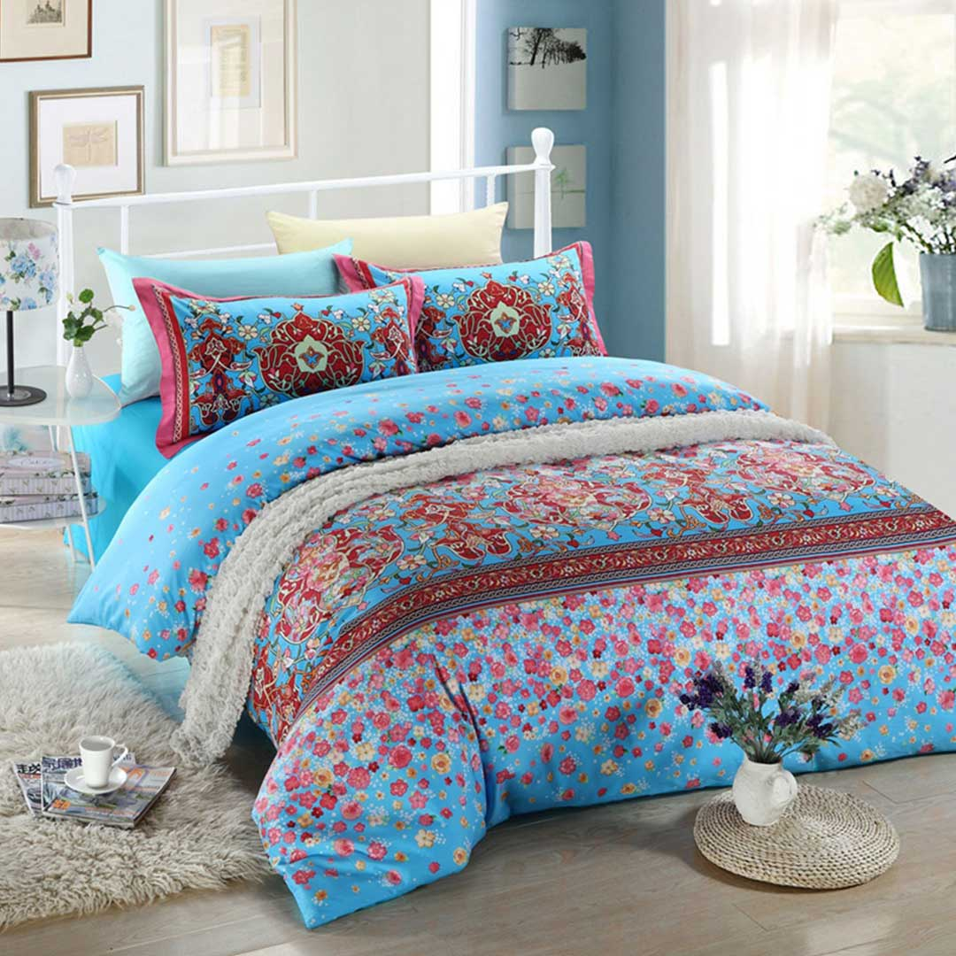 Blue Floral Bed Set