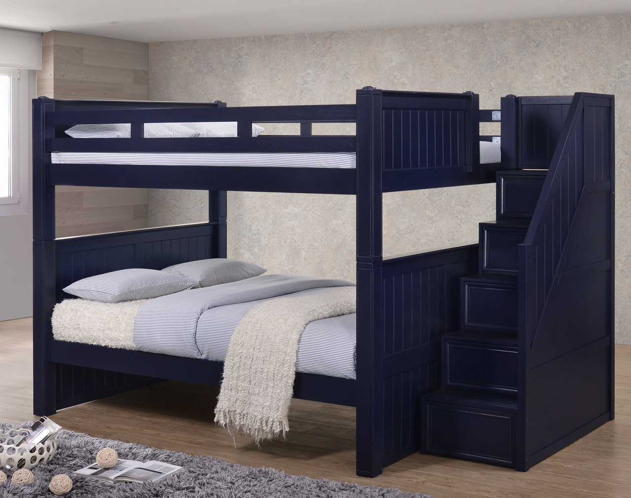 Image of: Blue Full Bunk Bed