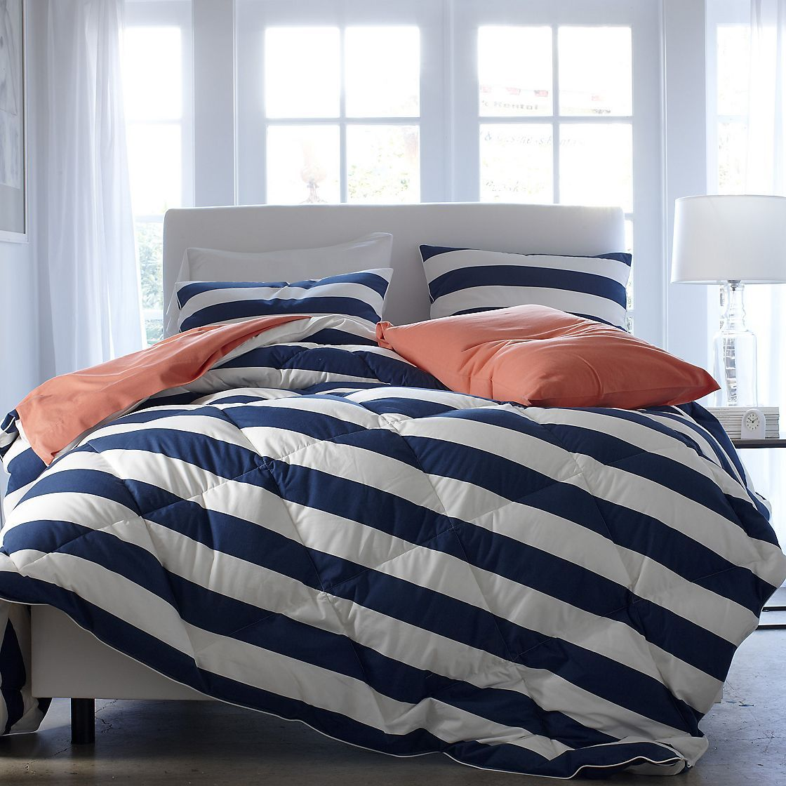 Image of: Blue and White Bedding Sets Strip