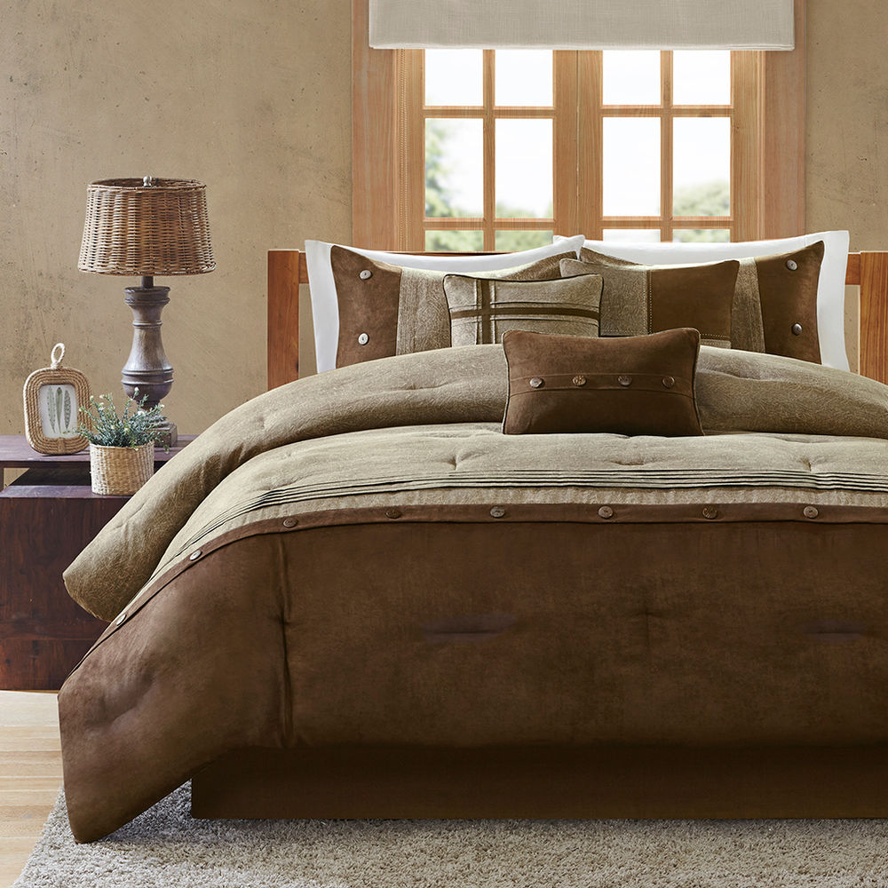 Image of: Brown Bedding Set and Lamp