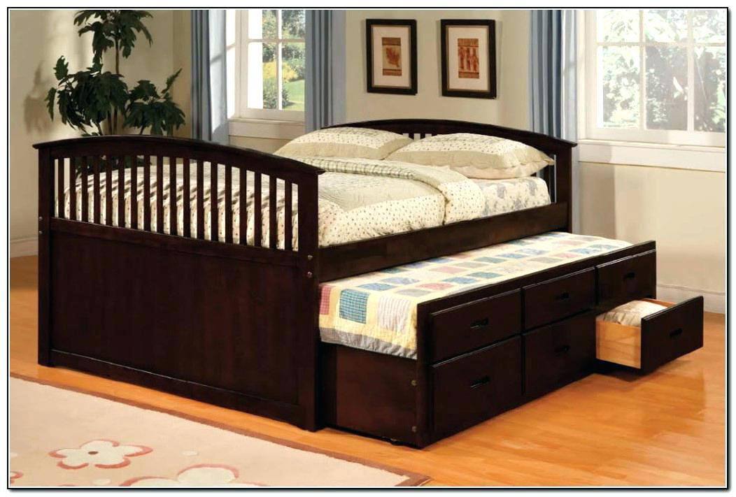 Image of: Brown Queen Bed with Trundle