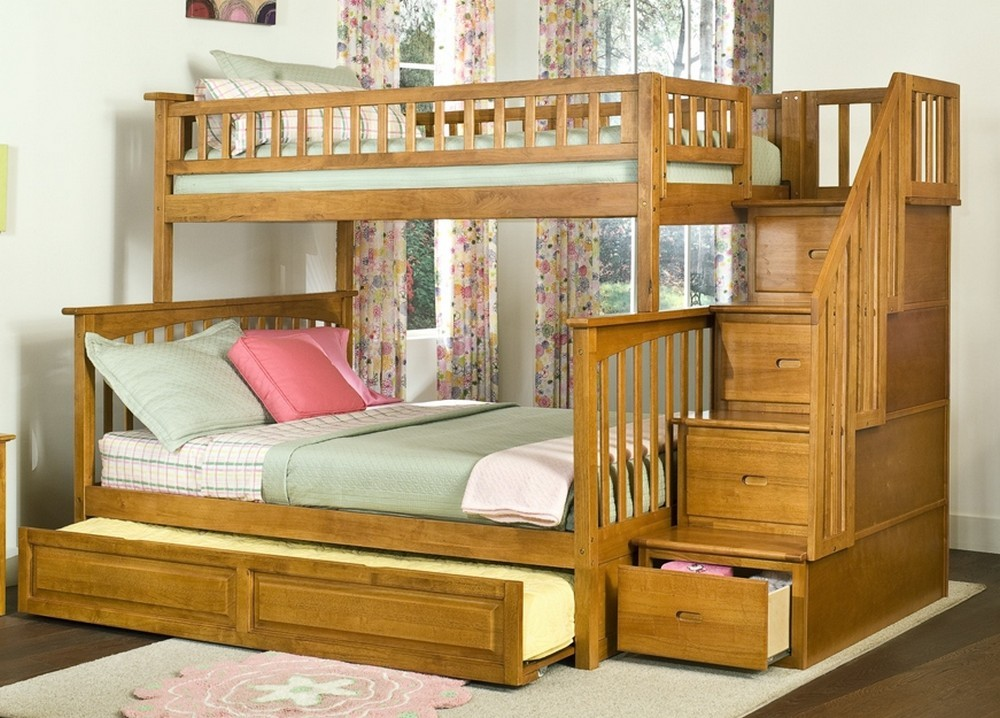 Image of: Bunk Beds with Trundle and Stair Drawer