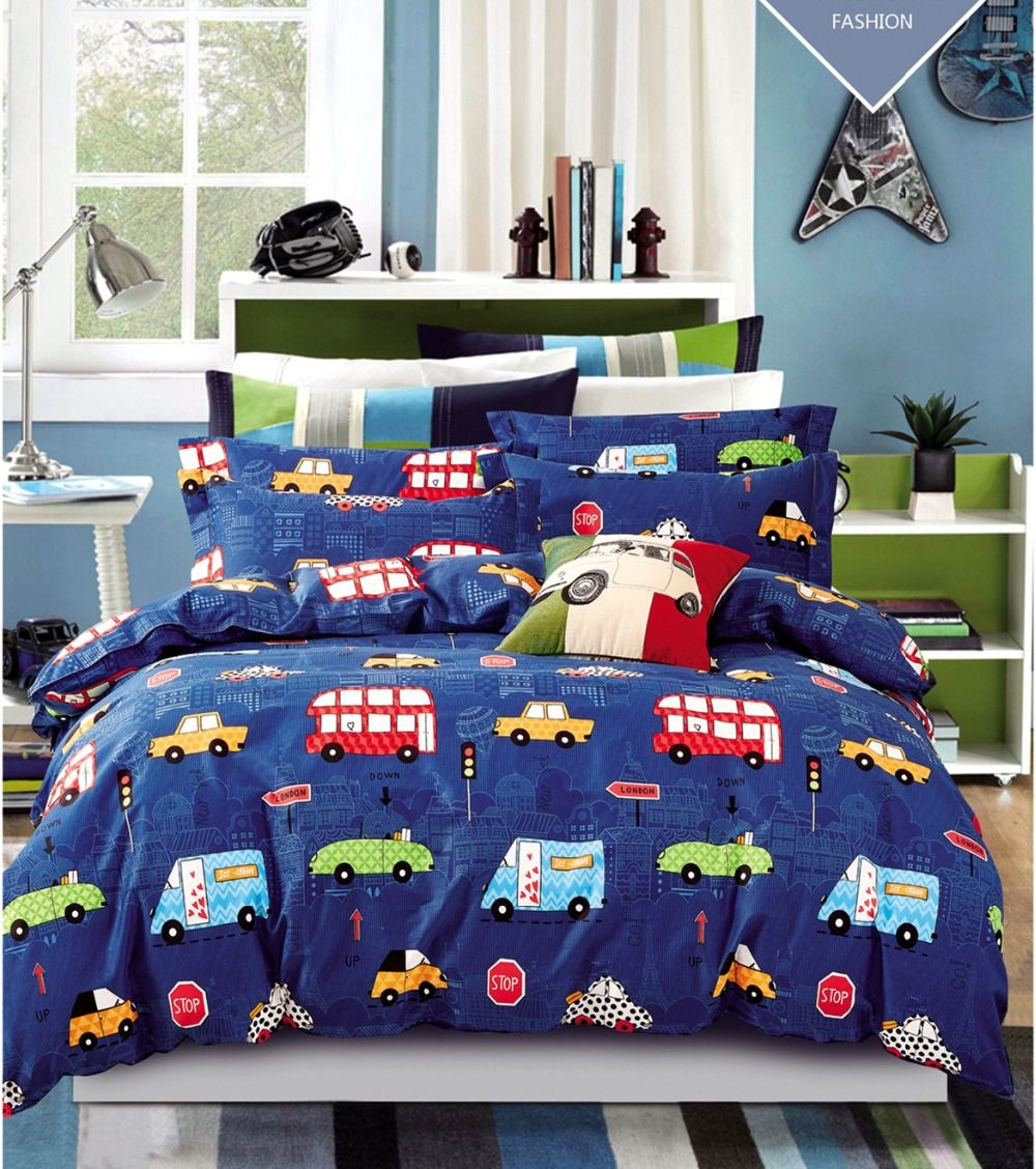 Image of: Cars Bedding Set Navy