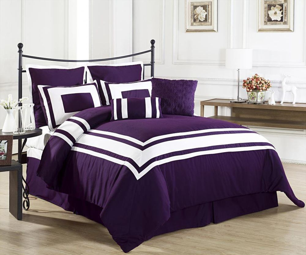 Image of: Casual Dark Purple Bedding Sets