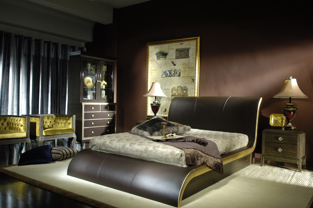 Image of: Custom Bed Sets Leather