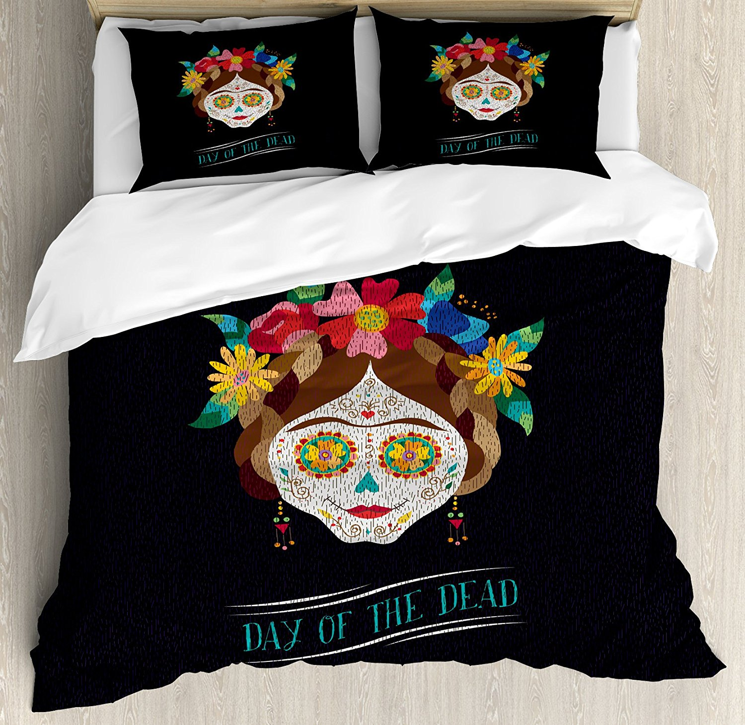 Image of: Day of the Dead Bed Set Black