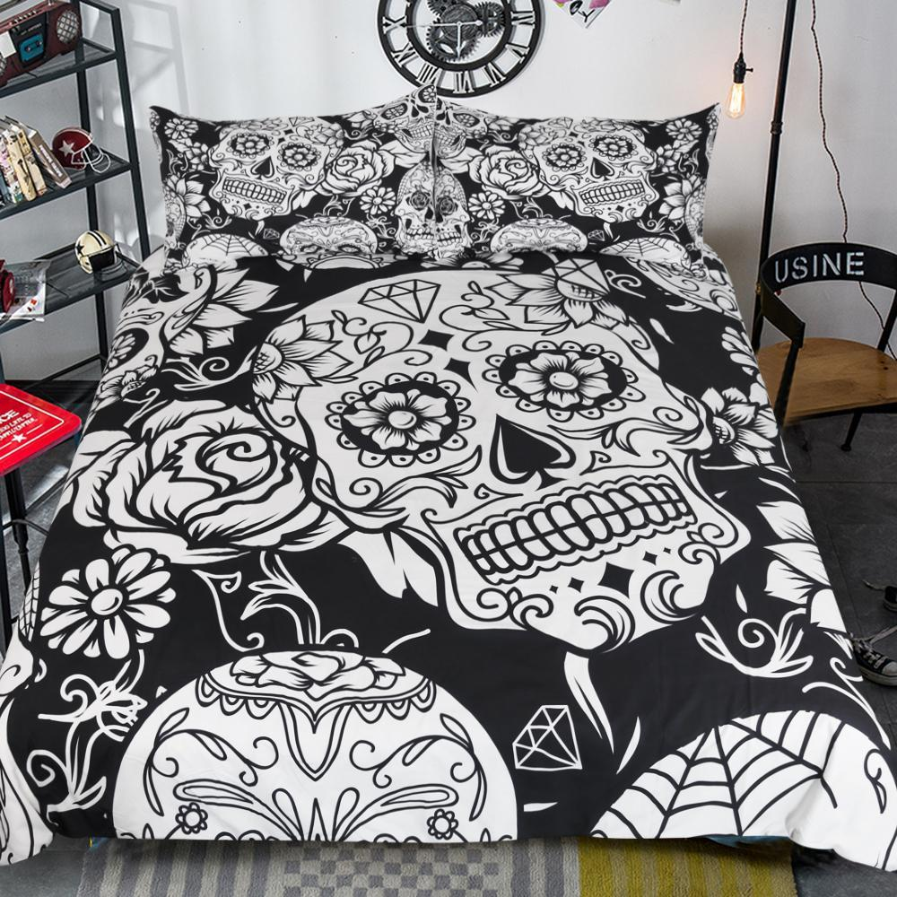 Image of: Day of the Dead Bed Set Cover