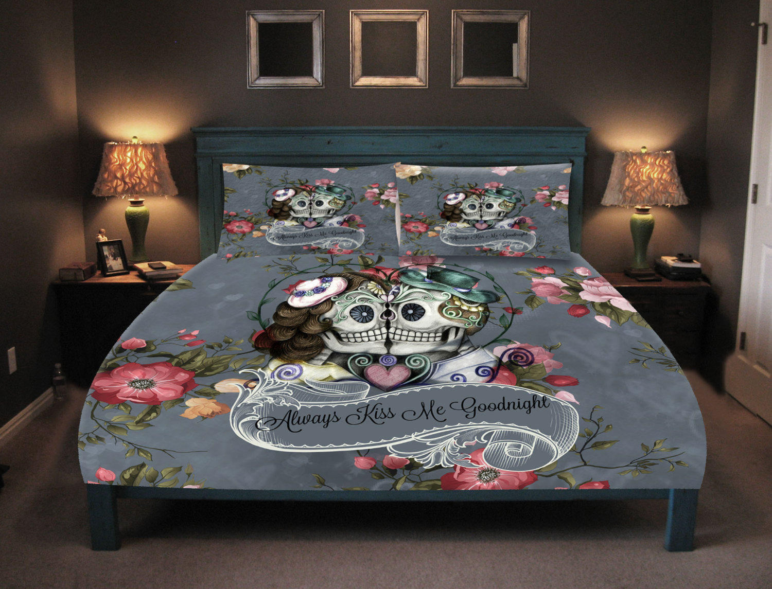 Image of: Day of the Dead Bed Set Fabric