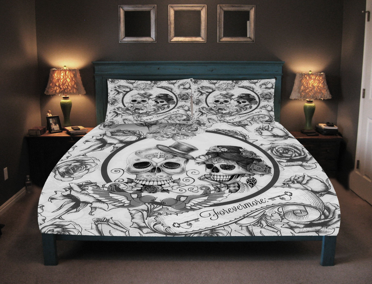 Image of: Day of the Dead Bed Set Idea